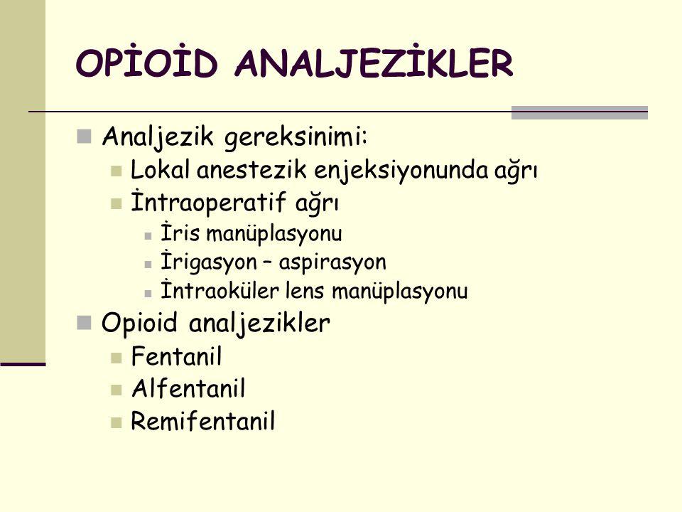 OPİOİD ANALJEZİKLER Analjezik gereksinimi: Opioid analjezikler