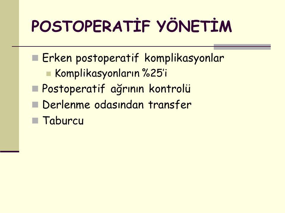 POSTOPERATİF YÖNETİM Erken postoperatif komplikasyonlar