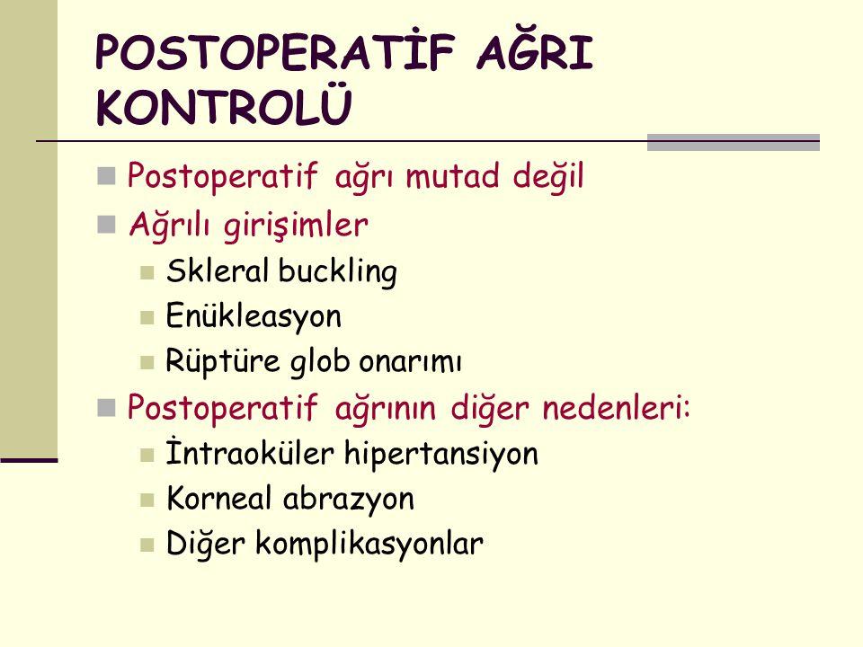 POSTOPERATİF AĞRI KONTROLÜ