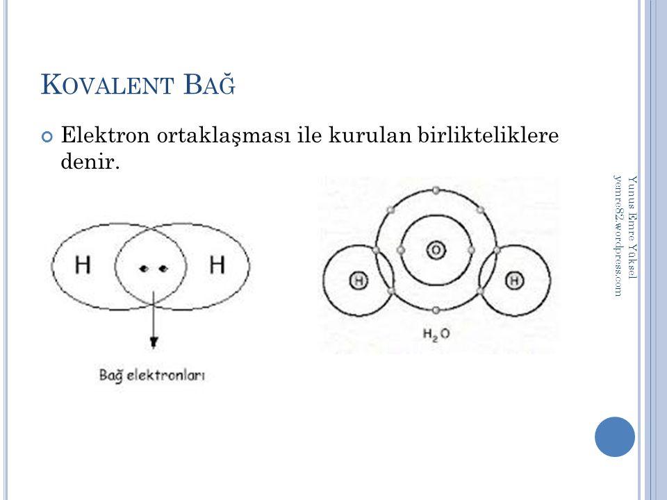Kovalent Bağ Elektron ortaklaşması ile kurulan birlikteliklere denir.