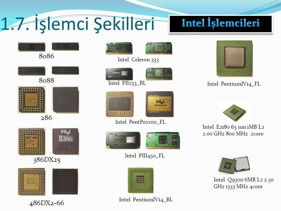 1.7. İşlemci Şekilleri Intel İşlemcileri 8086 8088 286 386DX25