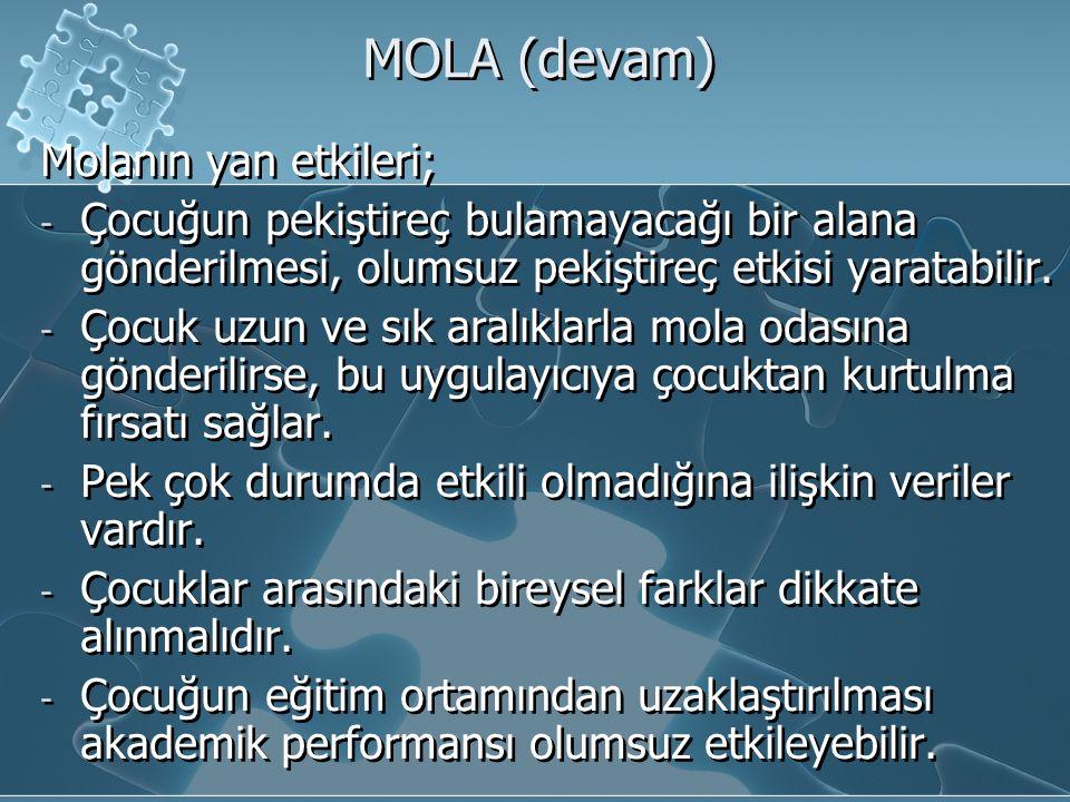 MOLA (devam) Molanın yan etkileri;