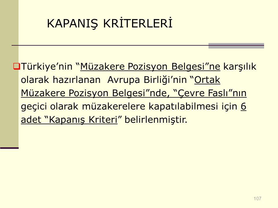 KAPANIŞ KRİTERLERİ
