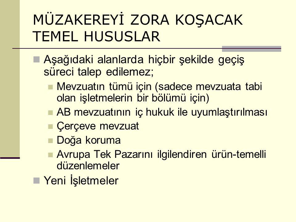 MÜZAKEREYİ ZORA KOŞACAK TEMEL HUSUSLAR