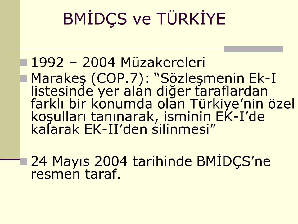 BMİDÇS ve TÜRKİYE 1992 – 2004 Müzakereleri