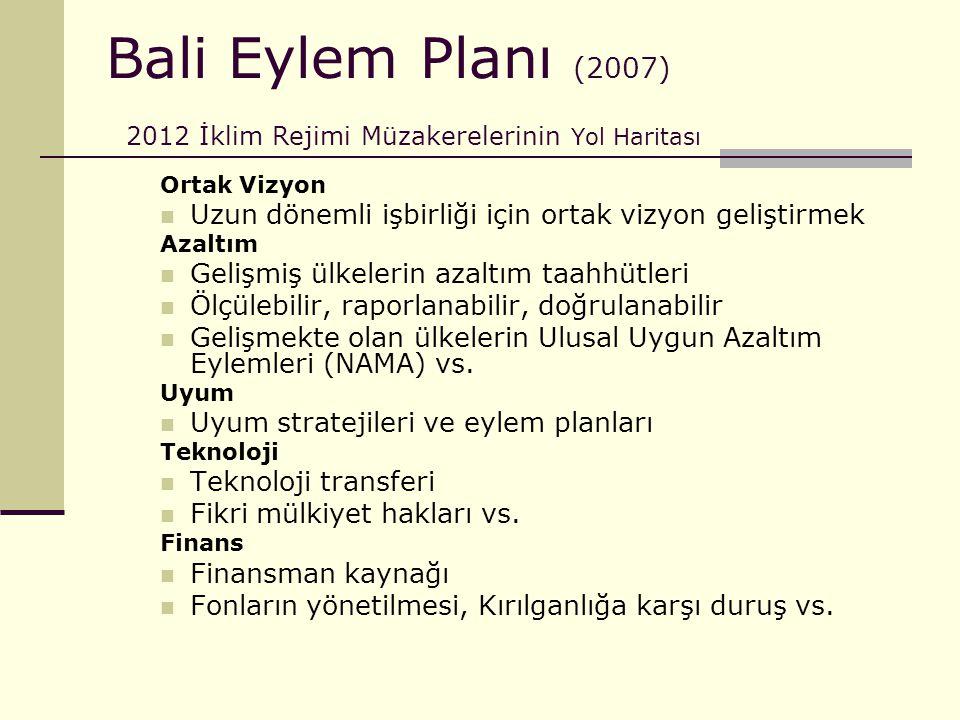 Bali Eylem Planı (2007) 2012 İklim Rejimi Müzakerelerinin Yol Haritası
