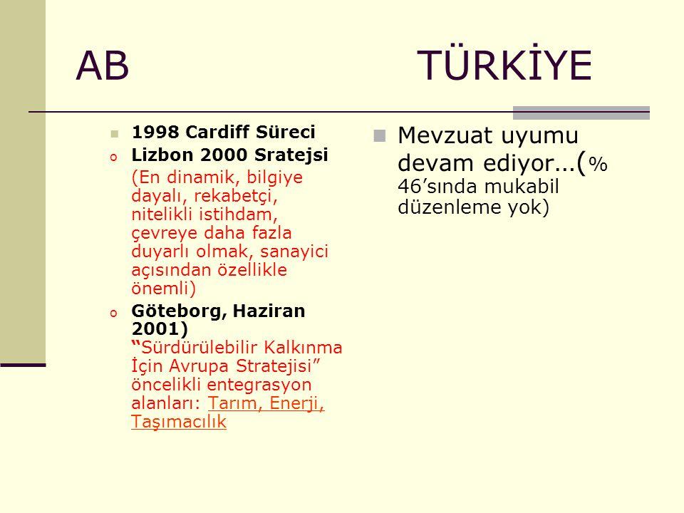 AB TÜRKİYE 1998 Cardiff Süreci. Lizbon 2000 Sratejsi.