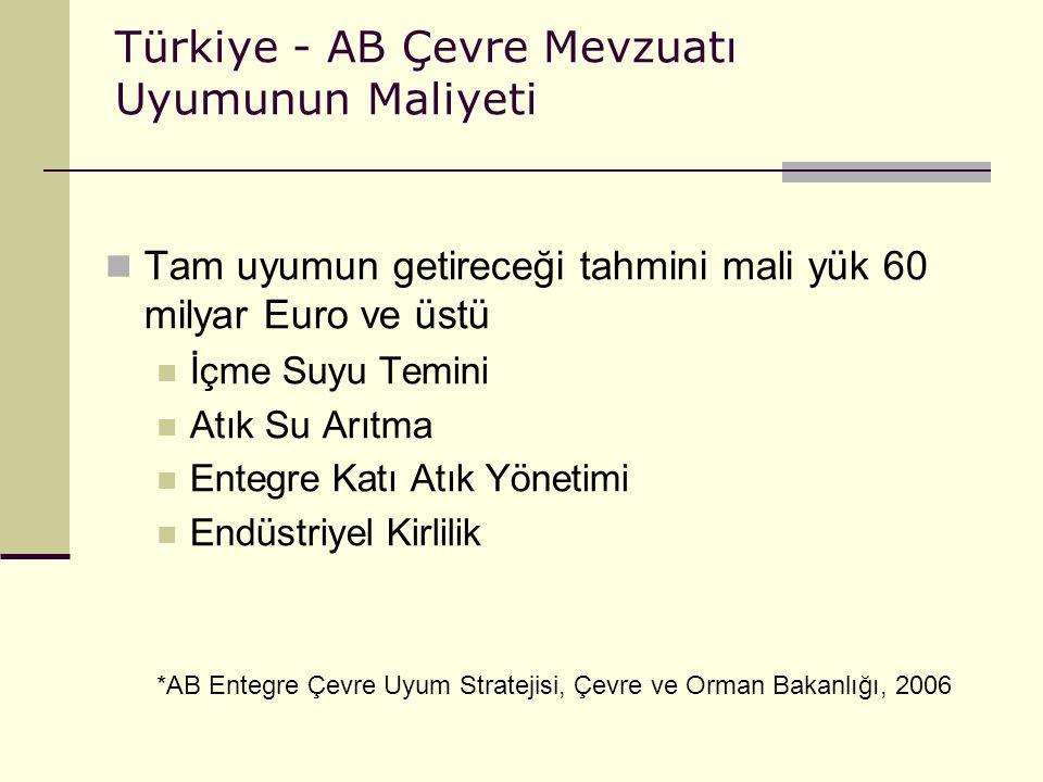 Türkiye - AB Çevre Mevzuatı Uyumunun Maliyeti