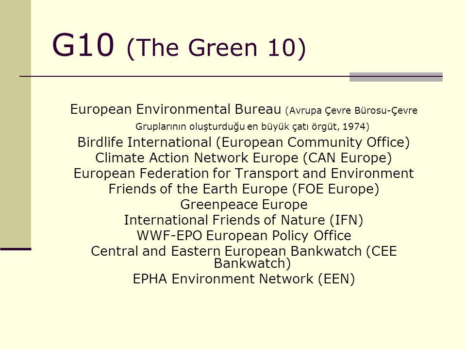 G10 (The Green 10) European Environmental Bureau (Avrupa Çevre Bürosu-Çevre Gruplarının oluşturduğu en büyük çatı örgüt, 1974)