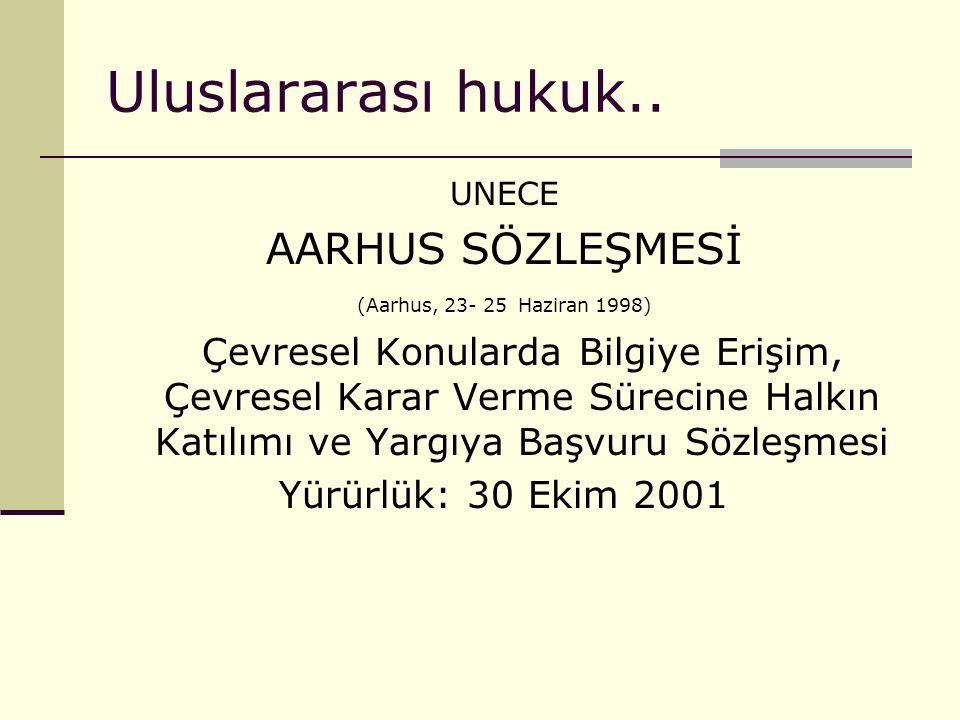 Uluslararası hukuk.. AARHUS SÖZLEŞMESİ Yürürlük: 30 Ekim 2001 UNECE