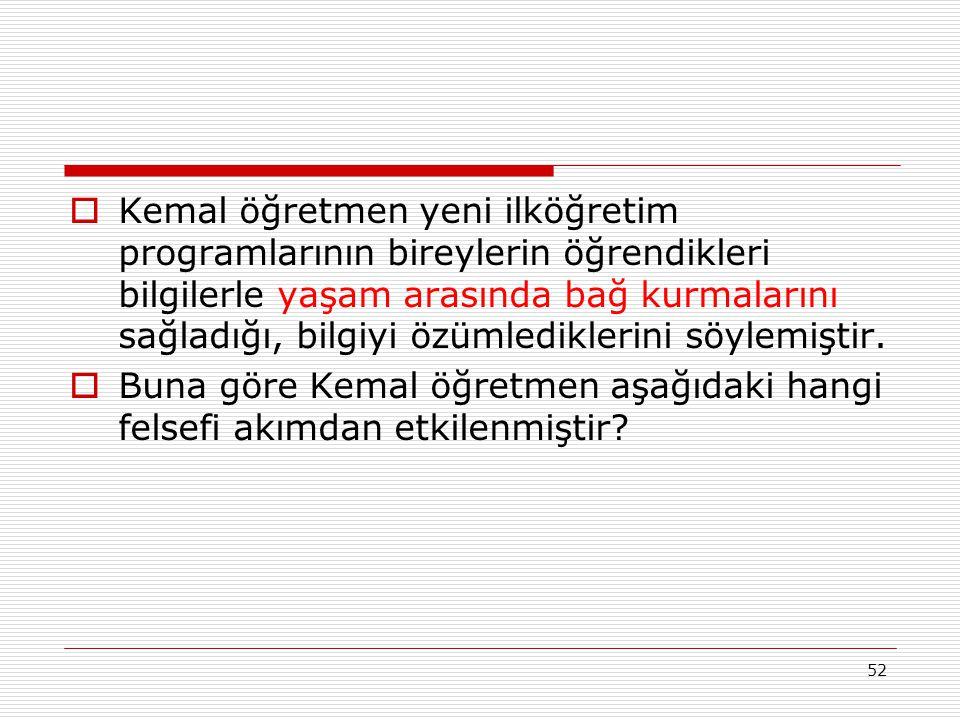 Kemal öğretmen yeni ilköğretim programlarının bireylerin öğrendikleri bilgilerle yaşam arasında bağ kurmalarını sağladığı, bilgiyi özümlediklerini söylemiştir.