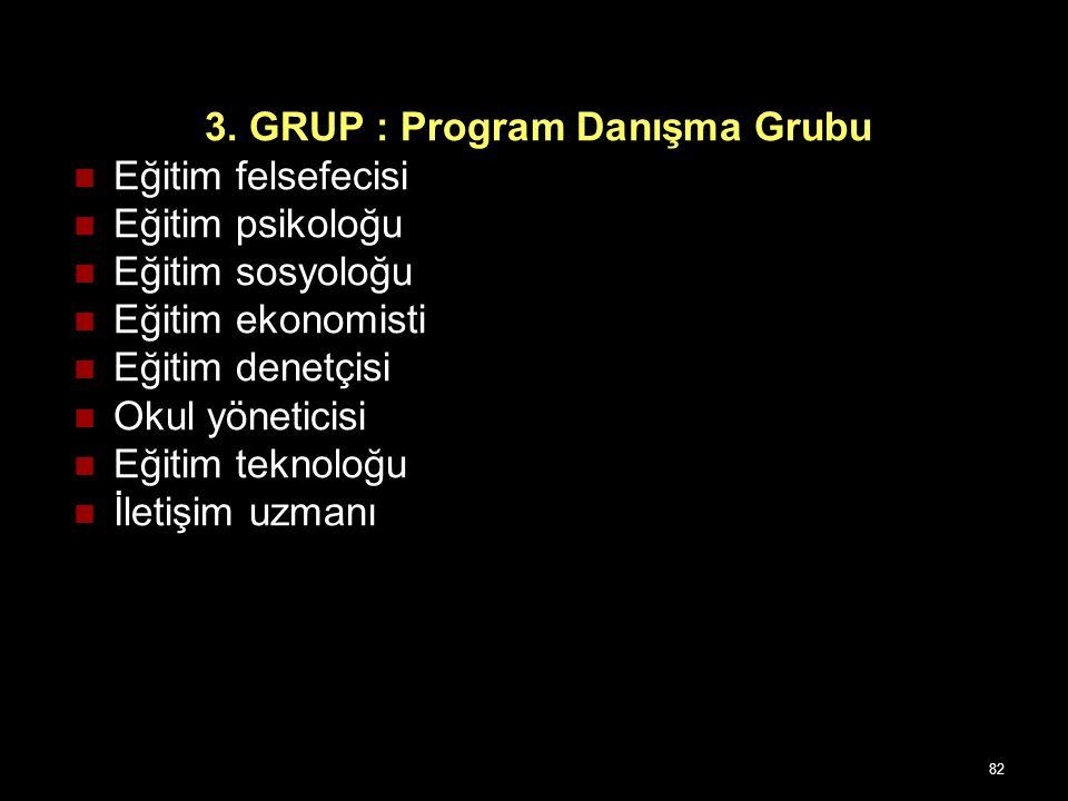 3. GRUP : Program Danışma Grubu