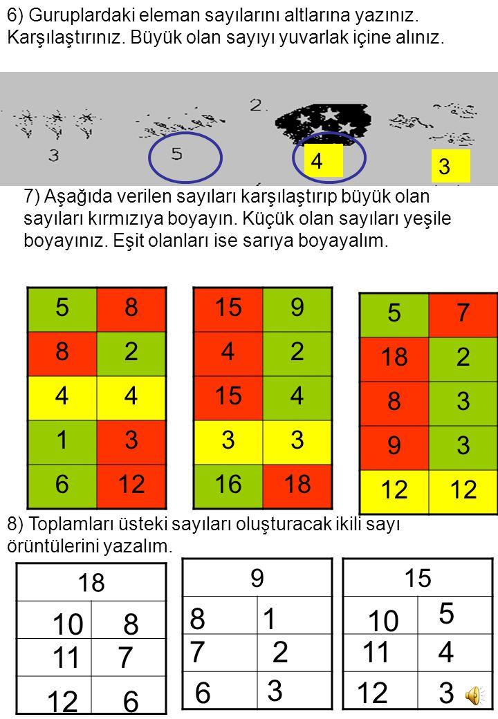 6) Guruplardaki eleman sayılarını altlarına yazınız. Karşılaştırınız