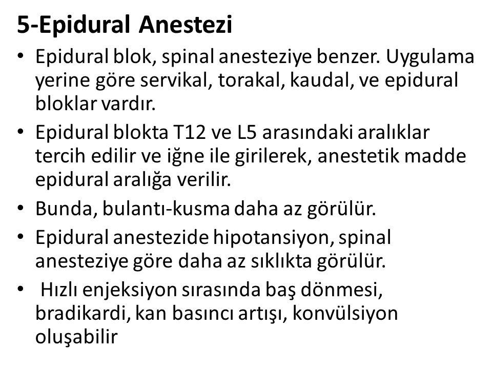5-Epidural Anestezi Epidural blok, spinal anesteziye benzer. Uygulama yerine göre servikal, torakal, kaudal, ve epidural bloklar vardır.