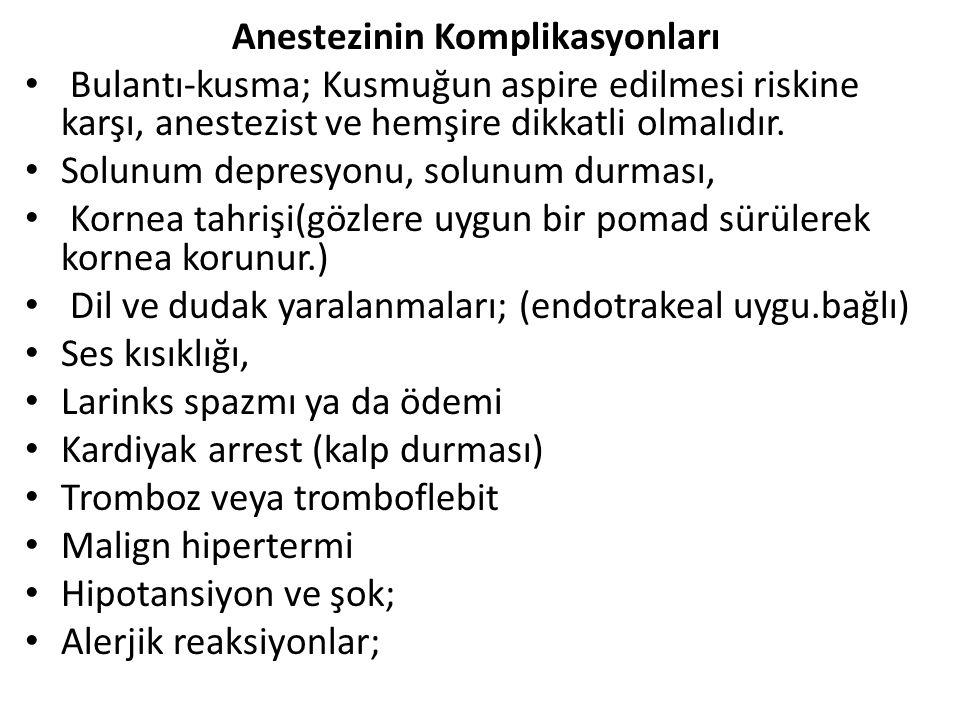 Anestezinin Komplikasyonları