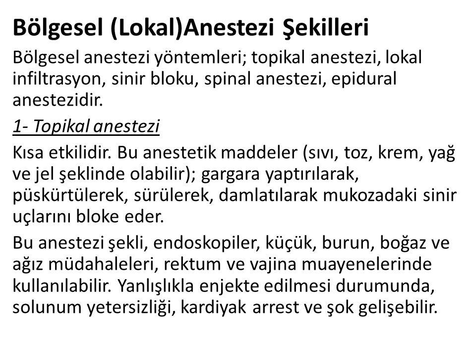 Bölgesel (Lokal)Anestezi Şekilleri