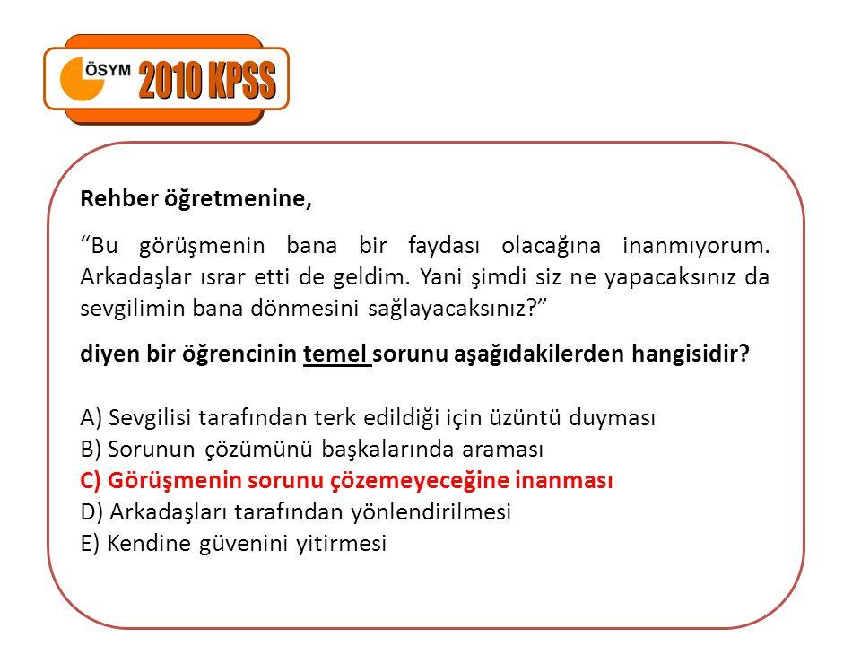 2010 KPSS Rehber öğretmenine,