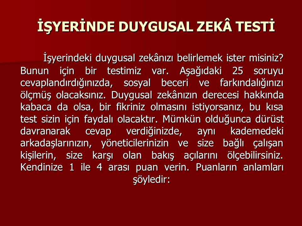 İŞYERİNDE DUYGUSAL ZEKÂ TESTİ