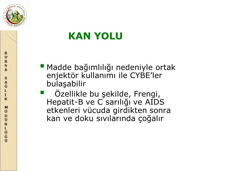 KAN YOLU Madde bağımlılığı nedeniyle ortak enjektör kullanımı ile CYBE'ler bulaşabilir.