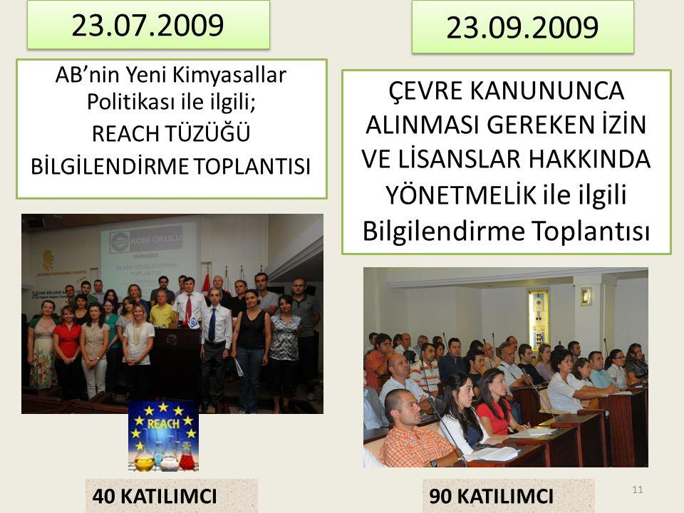 23.07.2009 23.09.2009. AB'nin Yeni Kimyasallar Politikası ile ilgili; REACH TÜZÜĞÜ BİLGİLENDİRME TOPLANTISI