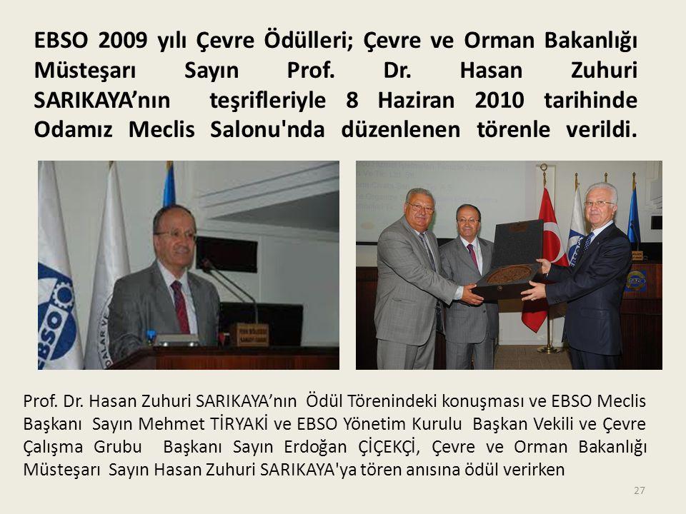EBSO 2009 yılı Çevre Ödülleri; Çevre ve Orman Bakanlığı Müsteşarı Sayın Prof. Dr. Hasan Zuhuri SARIKAYA'nın teşrifleriyle 8 Haziran 2010 tarihinde Odamız Meclis Salonu nda düzenlenen törenle verildi.