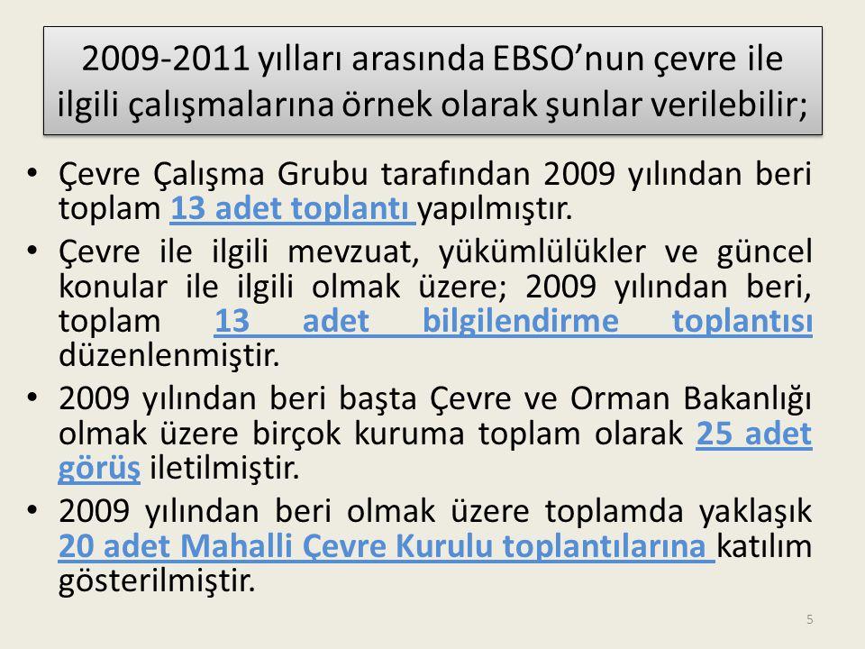 2009-2011 yılları arasında EBSO'nun çevre ile ilgili çalışmalarına örnek olarak şunlar verilebilir;