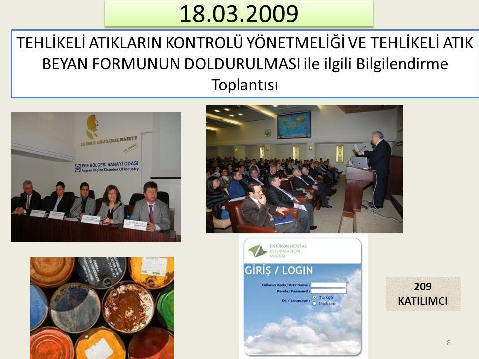 18.03.2009 TEHLİKELİ ATIKLARIN KONTROLÜ YÖNETMELİĞİ VE TEHLİKELİ ATIK BEYAN FORMUNUN DOLDURULMASI ile ilgili Bilgilendirme Toplantısı.