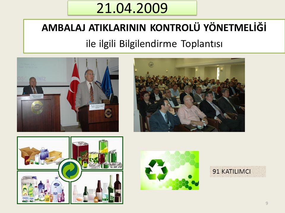 21.04.2009 AMBALAJ ATIKLARININ KONTROLÜ YÖNETMELİĞİ ile ilgili Bilgilendirme Toplantısı 91 KATILIMCI.