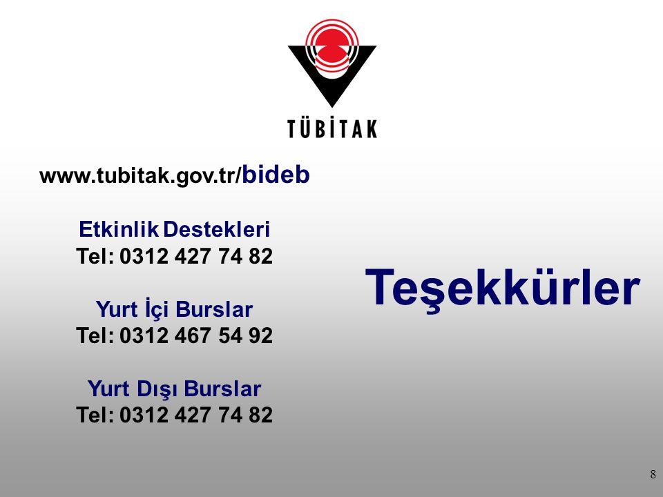 Teşekkürler www.tubitak.gov.tr/bideb Etkinlik Destekleri