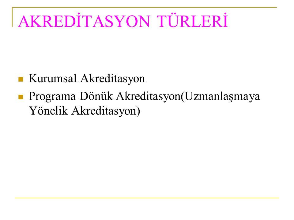 AKREDİTASYON TÜRLERİ Kurumsal Akreditasyon
