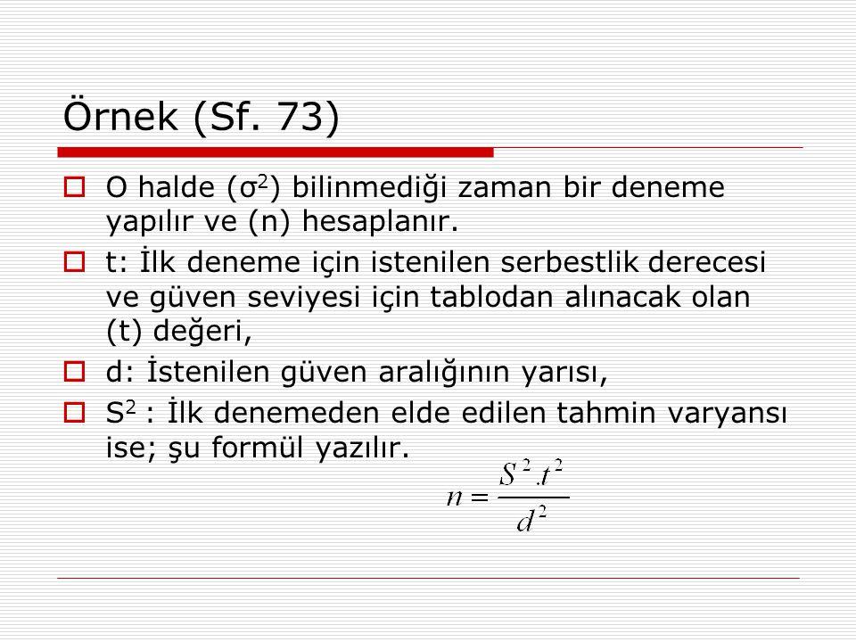 Örnek (Sf. 73) O halde (σ2) bilinmediği zaman bir deneme yapılır ve (n) hesaplanır.