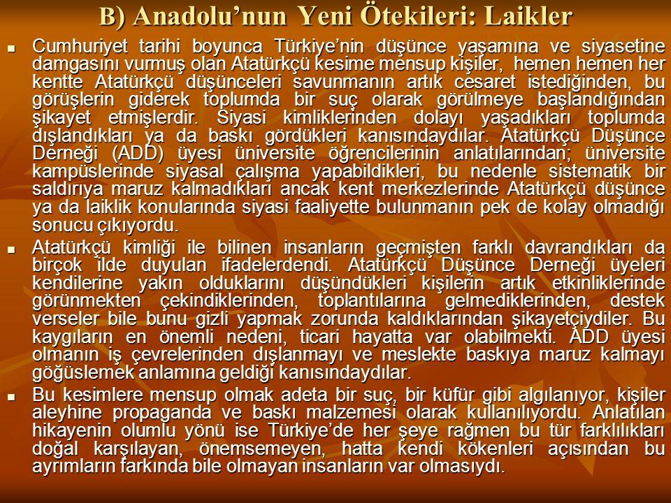 B) Anadolu'nun Yeni Ötekileri: Laikler