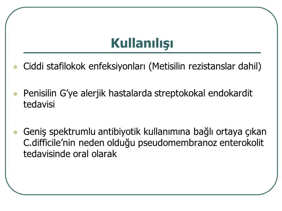 Kullanılışı Ciddi stafilokok enfeksiyonları (Metisilin rezistanslar dahil) Penisilin G'ye alerjik hastalarda streptokokal endokardit tedavisi.