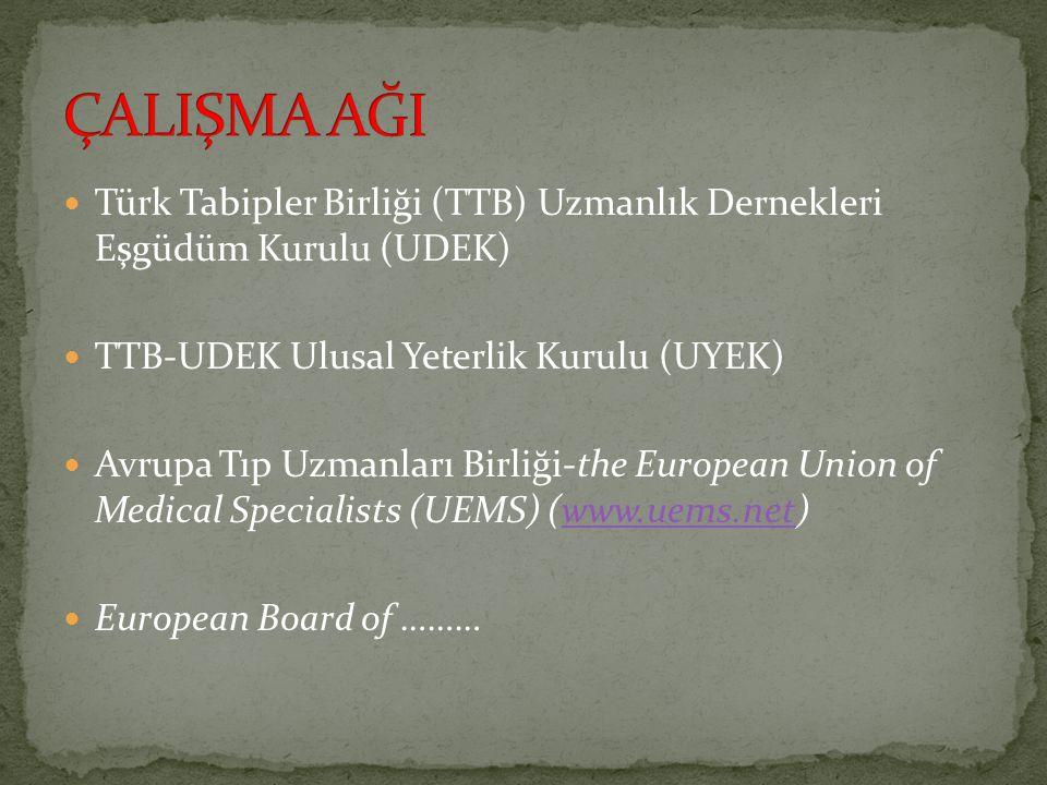 ÇALIŞMA AĞI Türk Tabipler Birliği (TTB) Uzmanlık Dernekleri Eşgüdüm Kurulu (UDEK) TTB-UDEK Ulusal Yeterlik Kurulu (UYEK)