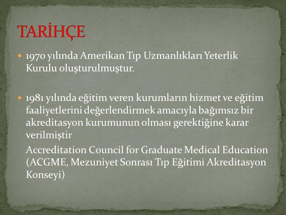 TARİHÇE 1970 yılında Amerikan Tıp Uzmanlıkları Yeterlik Kurulu oluşturulmuştur.