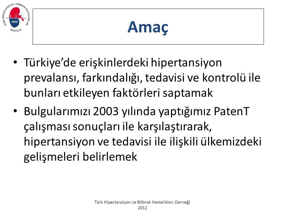 Amaç Türkiye'de erişkinlerdeki hipertansiyon prevalansı, farkındalığı, tedavisi ve kontrolü ile bunları etkileyen faktörleri saptamak.