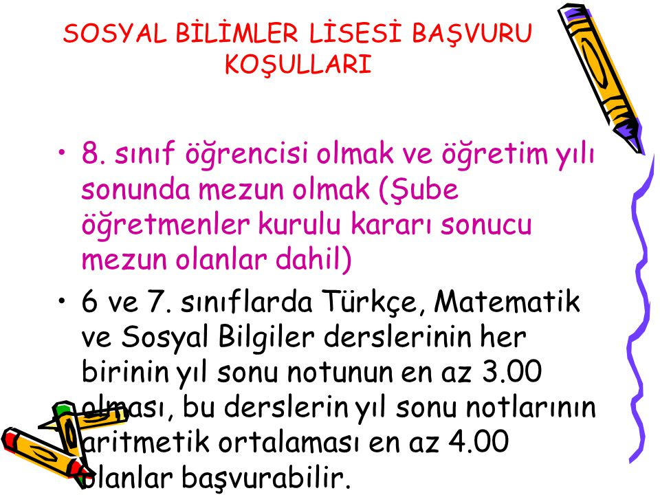 SOSYAL BİLİMLER LİSESİ BAŞVURU KOŞULLARI