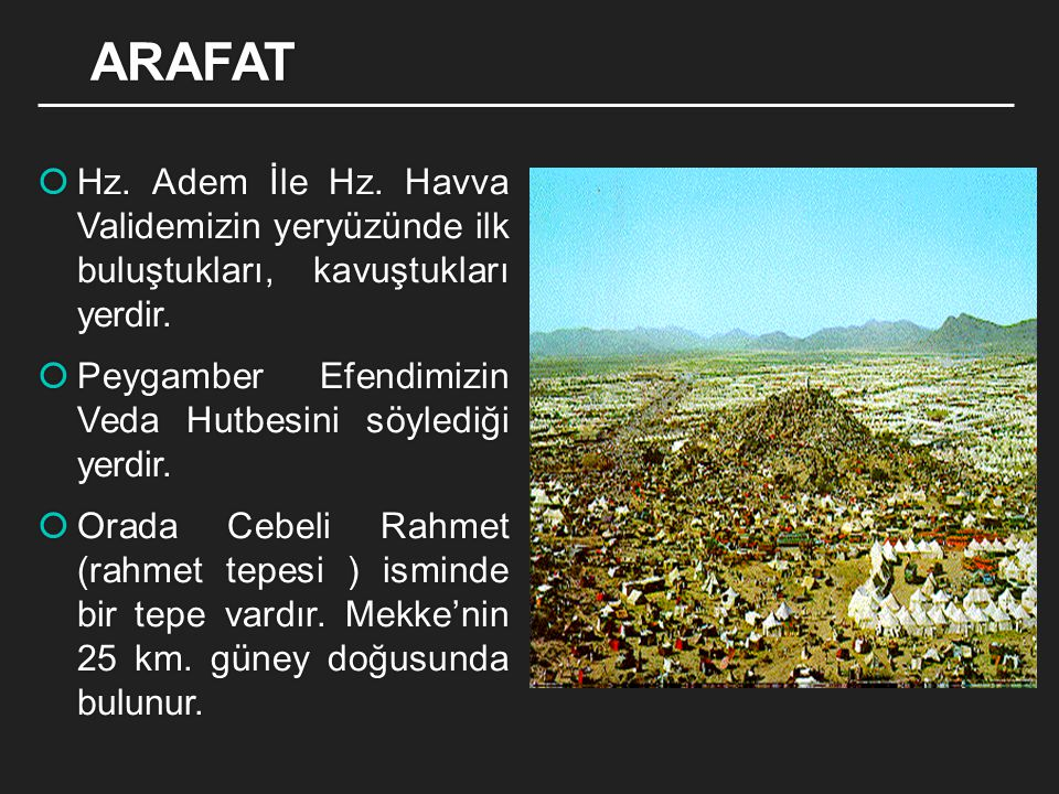 ARAFAT Hz. Adem İle Hz. Havva Validemizin yeryüzünde ilk buluştukları, kavuştukları yerdir.