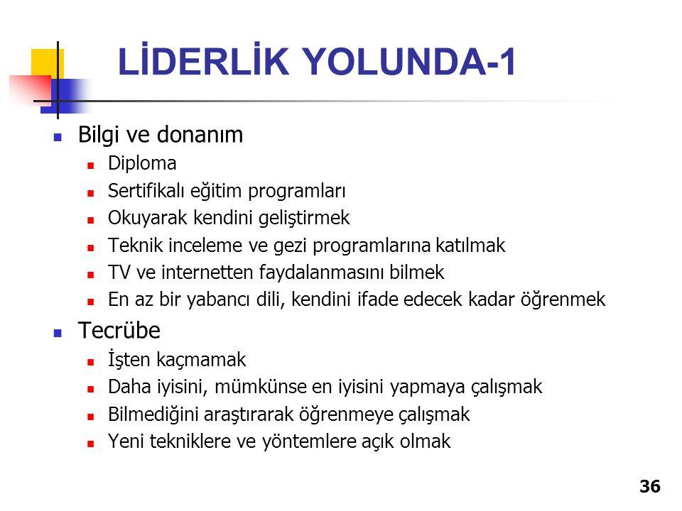 LİDERLİK YOLUNDA-1 Bilgi ve donanım Tecrübe Diploma