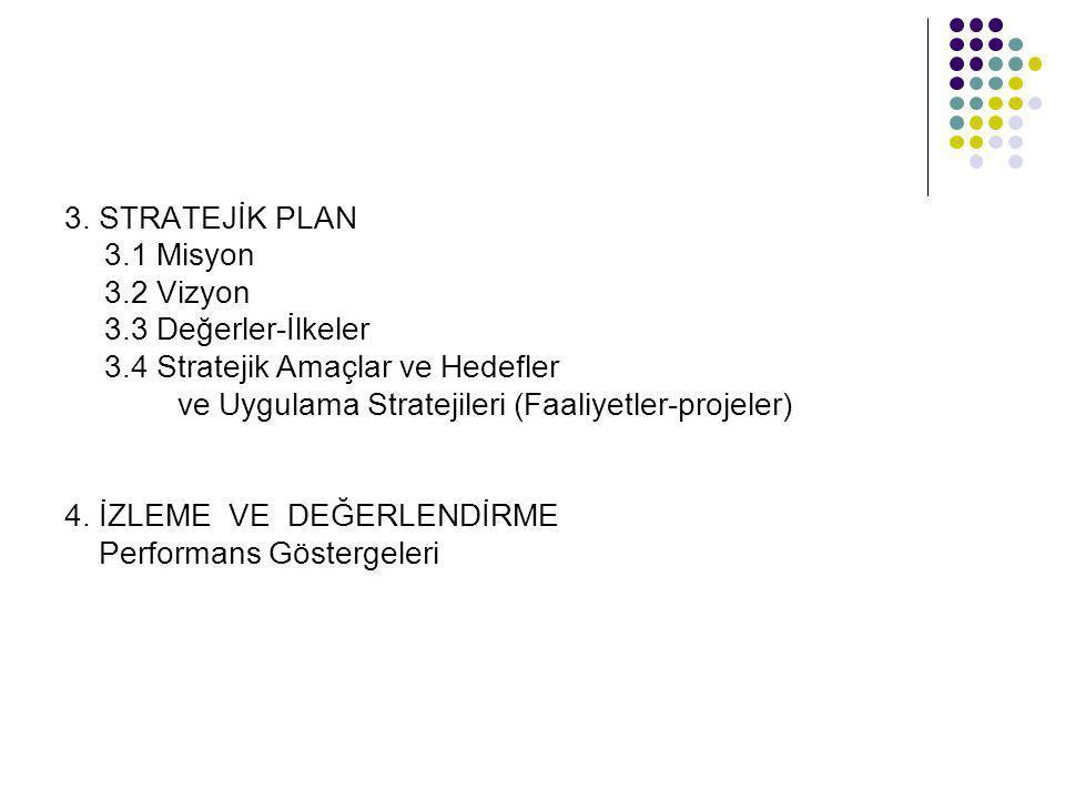 3. STRATEJİK PLAN 3.1 Misyon. 3.2 Vizyon. 3.3 Değerler-İlkeler. 3.4 Stratejik Amaçlar ve Hedefler.