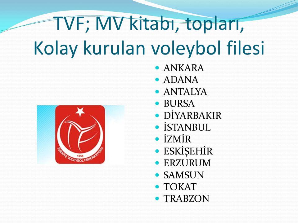 TVF; MV kitabı, topları, Kolay kurulan voleybol filesi