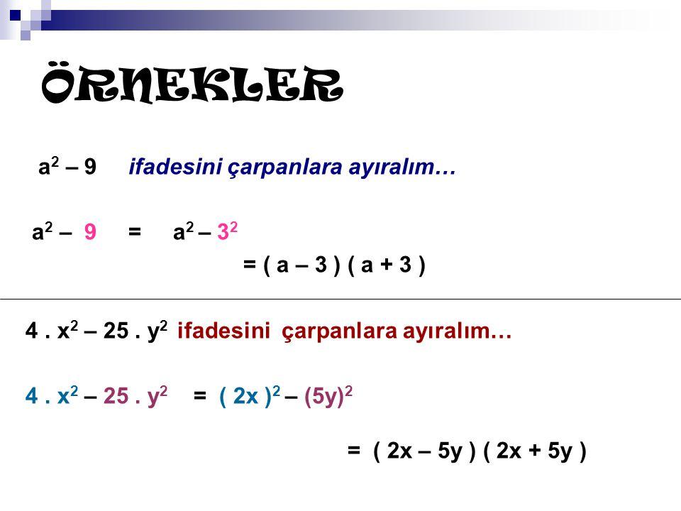 ÖRNEKLER a2 – 9 ifadesini çarpanlara ayıralım… a2 – 9 = a2 – 32