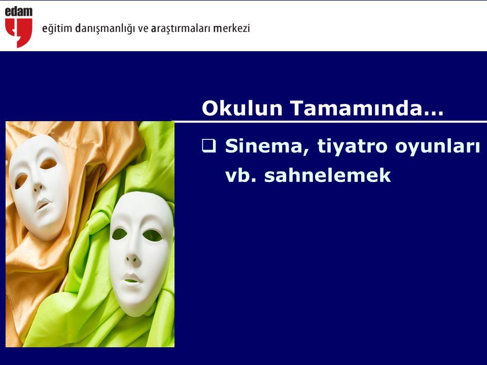 Okulun Tamamında… Sinema, tiyatro oyunları vb. sahnelemek