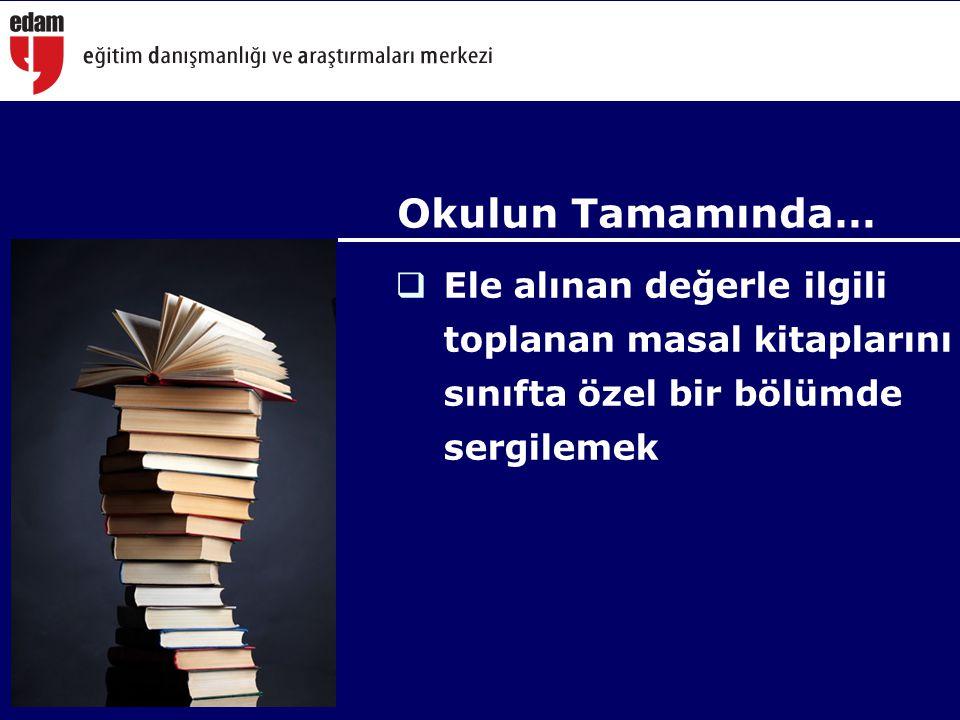 Okulun Tamamında… Ele alınan değerle ilgili toplanan masal kitaplarını sınıfta özel bir bölümde sergilemek.