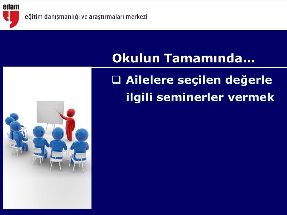 Okulun Tamamında… Ailelere seçilen değerle ilgili seminerler vermek
