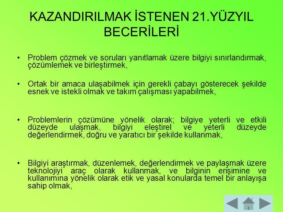 KAZANDIRILMAK İSTENEN 21.YÜZYIL BECERİLERİ