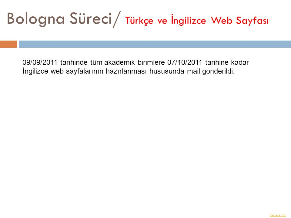 Bologna Süreci/ Türkçe ve İngilizce Web Sayfası