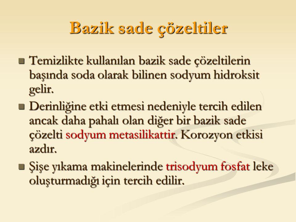 Bazik sade çözeltiler Temizlikte kullanılan bazik sade çözeltilerin başında soda olarak bilinen sodyum hidroksit gelir.