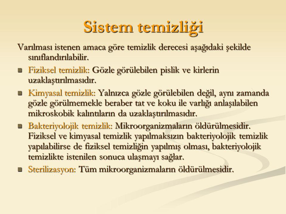 Sistem temizliği Varılması istenen amaca göre temizlik derecesi aşağıdaki şekilde sınıflandırılabilir.