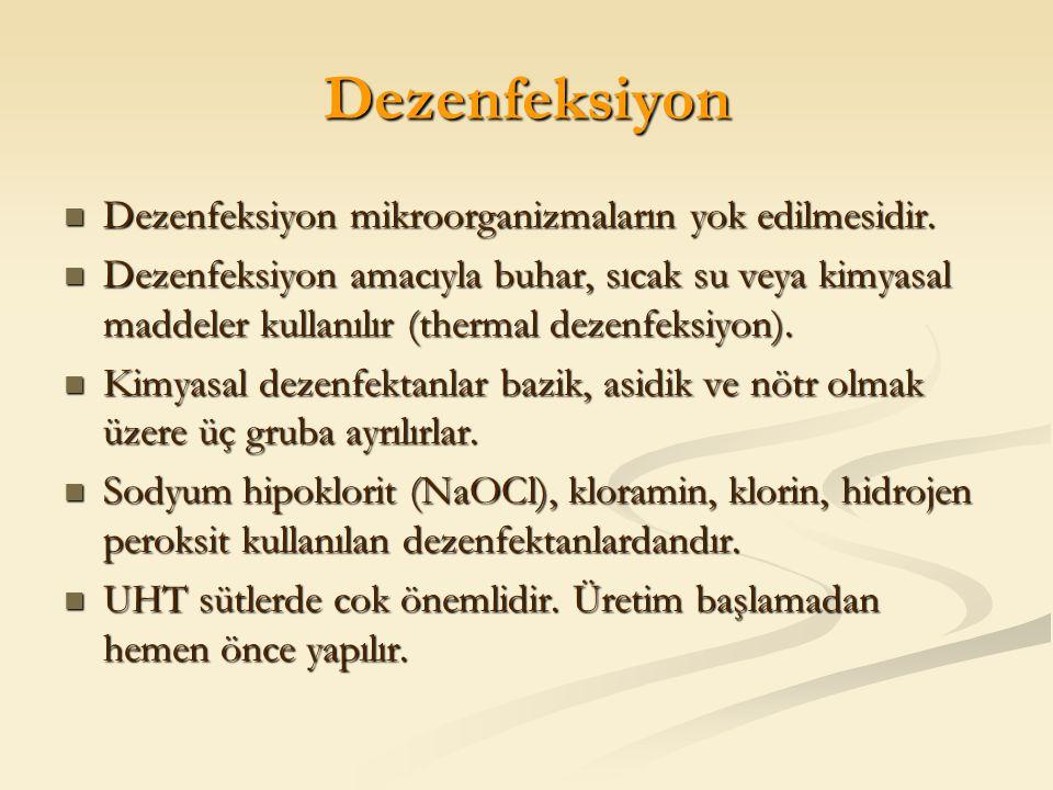 Dezenfeksiyon Dezenfeksiyon mikroorganizmaların yok edilmesidir.